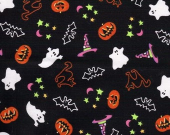 Halloween, Ghosts, Pumpkins and bats on black background, Halloween fabric, Trick or Treat bag fabric, by Fabric Arts 207