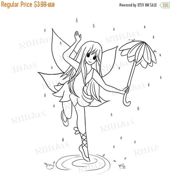 50% OFF SALE Umbrella Fairy Stamp, Fairy Digital Stamp, Coloring Stamp, Digital Art, Cartoon Digi Stamp, Printable Art IMG 085