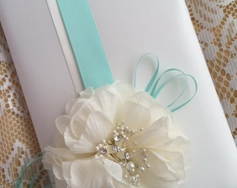 WEDDING GUEST BOOK - ivory cream and mint green - flowers - faux pearls and crystals
