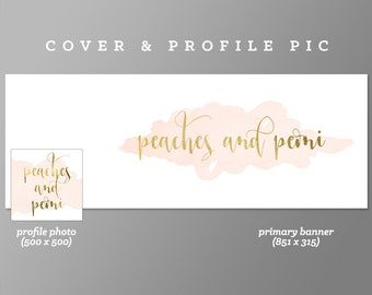 Pink Timeline Cover + Profile Picture 'Peach & Peoni' Cover, Profile Picture, Branding, Web Banner, Blog Header | Gold, luxury banner set