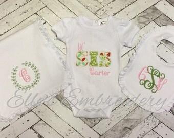 """Vintage """"Little Sis"""" Set/ Baby girl set/ Vintage baby set/ embroidered baby set/ Baby shower gift set"""