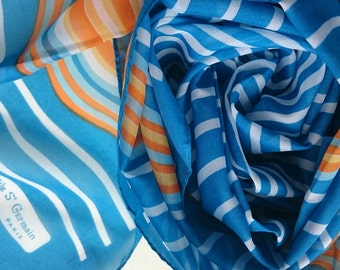Vintage Long Scarf by Odile St Germain Paris - Printed Polyester Chiffon in Blues, Oranges and White Waves - Perfect and Unused from 1970s