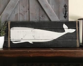 """WOODEN WHALE, 24"""" x 8.5"""", Nautical decor, Whale Decor, Whale art, Wooden nautical art, Wooden whale art, farmhouse decor"""