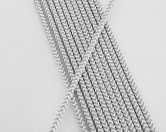 Gray & White Chevron Stripe Paper Straws
