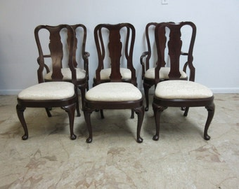 6 Custom Made Solid Mahogany Quueen Ann Carved Dining Room Chair Set Chippendale