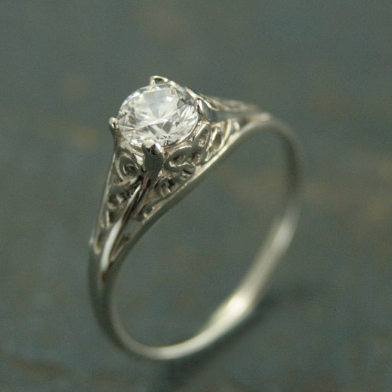 14k White Gold Vintage Style Filigree Engagement
