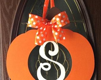 Wooden Pumpkin with Letter - Halloween - Fall Decor