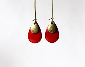 Red enameled sequin earrings