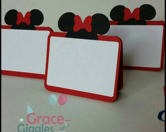 10 Minnie Mouse Inspired Food Tents, Minnie Place Cards, Table Cards