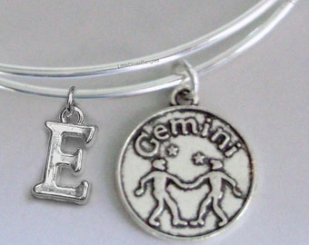 GEMINI Zodiac CHARM W/ Initial Adjustable Expandable Bangle Bracelet ZODIAC Bracelet  Gift - Under 20 Pick Your Sign  Usa  Z1