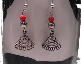Silver Plated Fans Jewelry - Red Pearls, Silver Beads,Japanese Hand Fans, Asian, Silver Geisha Fans Earrings