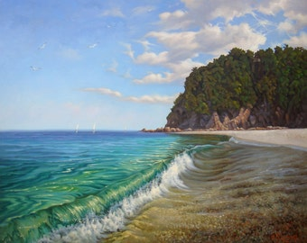 Seascape LARGE Painting | Original Artwork | Oil Painting on Canvas | Realism Painting | Fine Art | painting nature | scenery painting