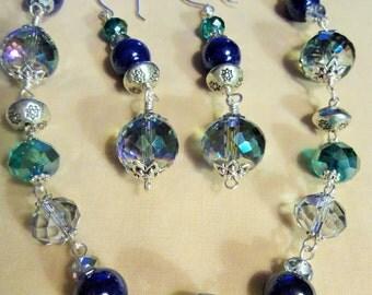 Aqua Crystal Splendor, Necklace and Earrings, 2 piece Jewelry set, Silver, Aqua, Blue, Crystal