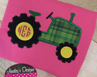 Monogram tractor shirt or onesie! Personalize with Name or monogram!