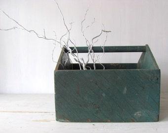 Rustic Wood Tool Caddy ~ Primitive Wood Storage - Primitive Storage Box ~ Industrial Wood Tool Box - Wood Tool Box
