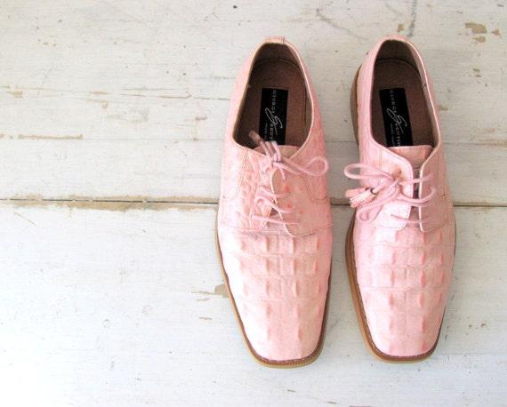 vintage giorgio brutini pink alligator leather dress shoe