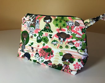 Pink Geisha Anime Kawaii Cosmetic Bag/Purse/Wristlet