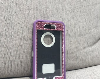 iphone 6, 7 or 7 plus OtterBox defender blinged w/Swarvoski Crystals and sparkly pretty fashionable cell phone case
