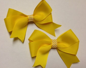 """pigtail set of 2 bows 3"""" yellow tails down chevron grosgrain ribbon hair bow birthday party pinwheel stack baby toddler hairbow clip classic"""