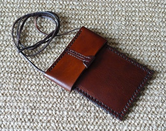 SCKLeather Handmade Veg Tanned Leather Neck Pouch