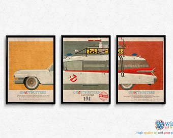 "Ghostbusters Car Ecto 1 Mondo Style Poster Artwork - 3 x 16""x12"" Quality Prints"