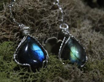 Pair of Labradorite wirewrapped Earrings