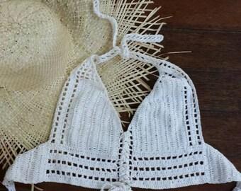Crochet lace up bikini, halter tie up swimmer