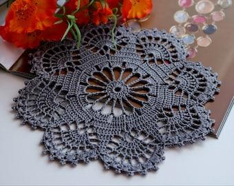 Grey doily, Crochet doily, Round crochet doily, Handmade doily, crochet lace doily, Crochet table decoration, Crochet placemat