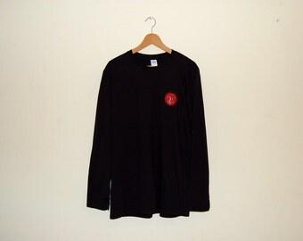 vintage original Rush 80s patch black long sleeve t shirt - custom made, ringspun, soft cotton, bands, music, merch, heavy metal