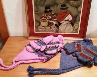 Alpaca Fairlisle Childs Hat & Glitten Sets