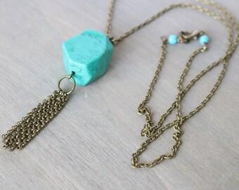 Magnesite Long Tassel Necklace - Bronze Metal, Bohemian Necklace, Boho Style, Blue, Turquoise