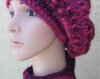 crocheted scarf and beret  set for women