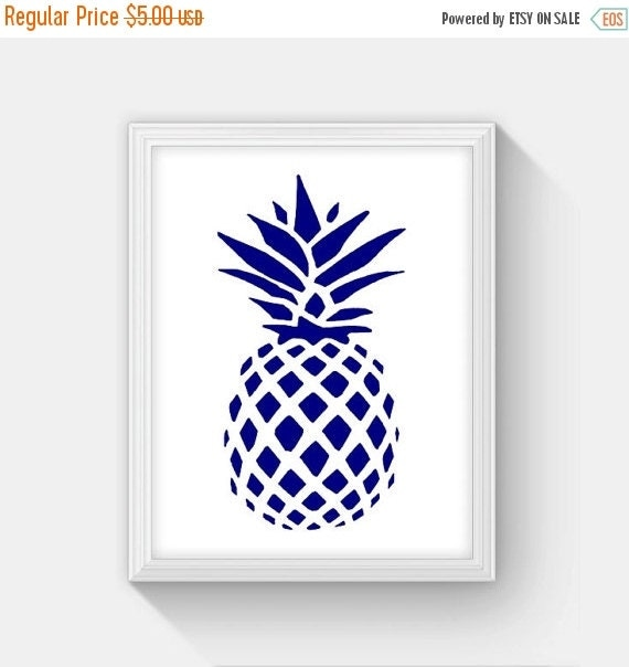 Kitchen Art Printables Collection Sale Instant Download: ON SALE Printable Pineapple Print Navy Blue And By
