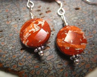 Red Jasper Earrings on Sterling Silver Wires