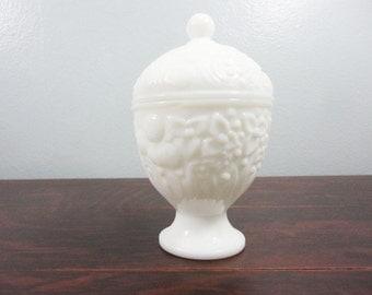 Vintage Avon Milk Glass Egg Compote - Daisies, Hobnail Details