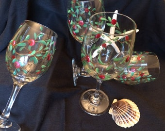 Wine glasses, Hand painted,  cranberries, unique and very Elegant!
