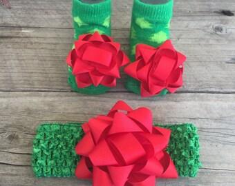Christmas headband & bootie set