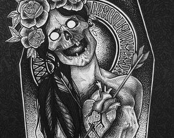 "Skull Black White Pinup Illustration Print 1/5 ""Hope To Die"" Sandi Pierce"