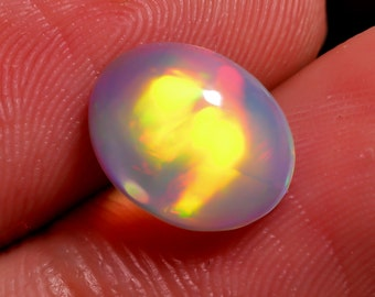 1 Piece Natural Ethiopian Opal Cabochon Oval Shape , 1.50 Carats Natural Fire Opal Gemstone Cabochon Loose Stone Cabs Gems Smooth Gemstone