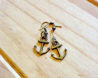 Antique bronze anchor earrings