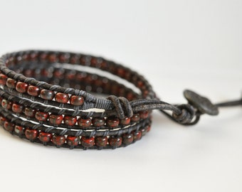 Leather Wrap Bracelet, Beaded Wrap Bracelet, Wrap Bracelets, Beaded Bracelet, Beaded Leather Wrap, Wrap Bracelet, Leather and bead Bracelet