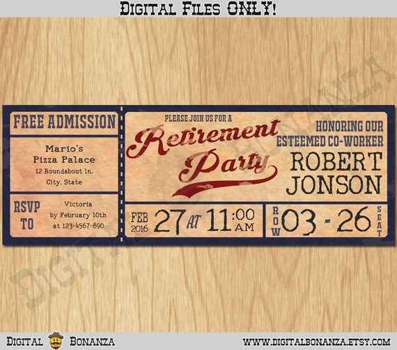 Vintage baseball retirement party invitations personalized il570xn solutioingenieria Images