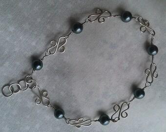 Sterling silver bracelet , swwarovsky pearls bracelet , handmade sterling silver bracelet