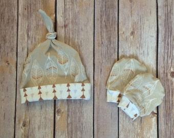 Baby knot hat, and no scratch mittens, gender neutral newborn set