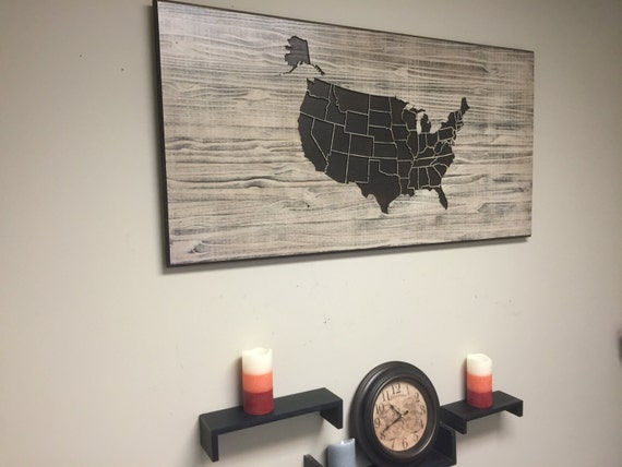 wooden us map wall art wood carved united states map with. Black Bedroom Furniture Sets. Home Design Ideas
