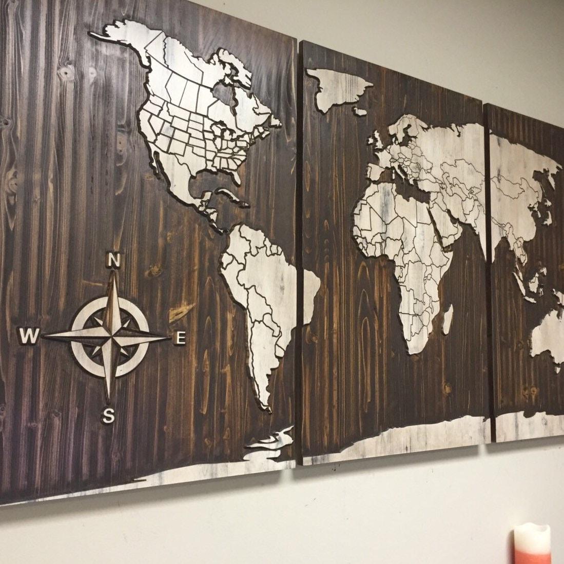 World Map Wall Decor Wood : World map wood wall art luxury home decor large wooden