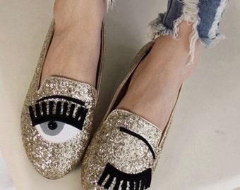 Gold Sparkle Eyelash Flats
