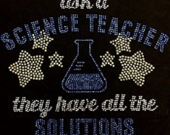 New~ ask  a science teache they have all all the solutions  rhinestone bling tshirt
