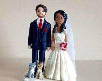 Customised wedding cake topper - personalised bride and groom - handmad everlasting polymer clay keepsake