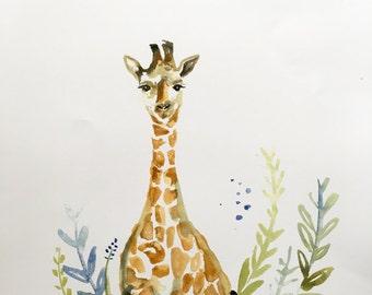 Giraffe watercolor print 11x15in
